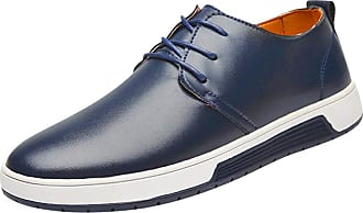 Daytwork Mens Casual Oxford Shoes - Moccasins Business Fashion Dress Lace Up Work Formal Breathable Soft Office Classic Walking Shoes UK Size 5-10 Blue
