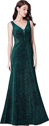Ever-pretty Womens Elegant Floor Length Long V Neck Velvet with Gliiter Long Sparkling Bridal Evening Dresses Dark Green 12UK