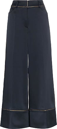 Peter Pilotto High-waisted contrast trim wide-leg trousers - Azul