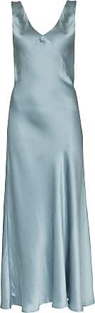 Asceno Maxikleid aus Seide - Blau
