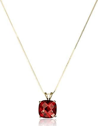 Amazon Collection 14k Gold Cushion Checkerboard Cut Gemstone Pendant Necklace (8mm)