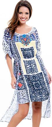 101 Resort Wear Vestido Evasê 101 Resort Wear Kaftan Midi Crepe Estampado Preto Branco