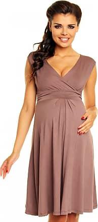 Zeta Ville womens elegant maternity dress summer dress suitable for breastfeeding 256C - Black - (Size EU 44) Large