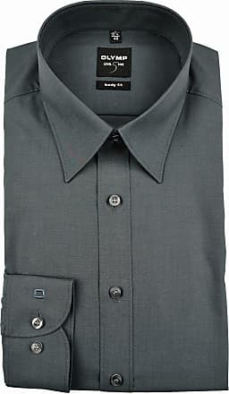 Olymp Mens Plain Classic Formal Shirt Black Charcoal - Black - 16