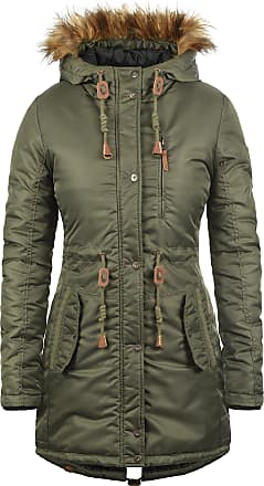 Blend EDA Womens Parka Outdoor Jacket Winter Coat with Fur Hood, Size:L, Colour:Ivy Green (77086)
