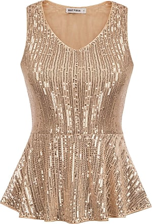 Grace Karin Sparkly Tops for Wedding V-Neck Sleeveless Slim Peplum Hem Bridesmaid Vest Shirt Rose Gold XXL