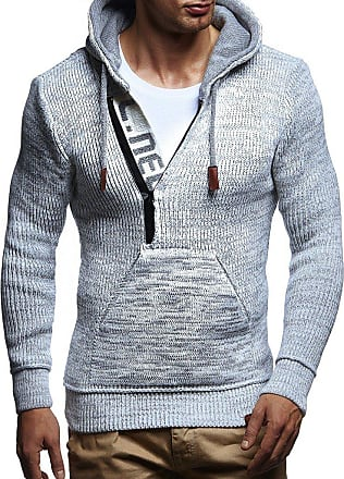 LEIF NELSON Mens Pullover Knit Sweater Hooded Hoodie LN-5450 Crude Grey Medium