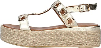 Inuovo Gold Wedge Sandal in Gold Leather Model 8916 Gold Gold Size: 8.5 UK