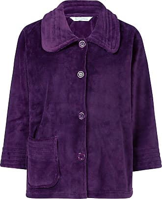 Slenderella Womens Button Up Soft Fleece Bed Jacket Housecoat with Pocket Large (Plum)