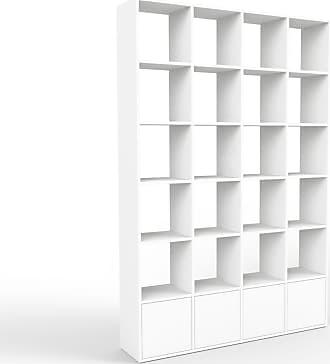 MYCS Bücherregal Weiß - Modernes Regal für Bücher: Türen in Weiß - 156 x 233 x 35 cm, Individuell konfigurierbar