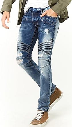 21 Men KDNK Distressed Moto Jeans at Forever 21 Blue