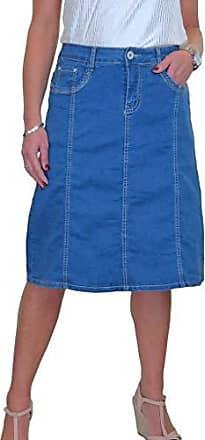 ICE Stretch Jeans Rock mit Pailletten Detail Hellblau 38-50