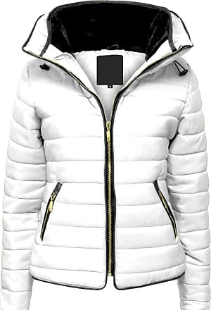 Parsa Fashions Malaika Ladies Quilted Padded Puffer Bubble Fur Collar Warm Thick Womens Jacket Coat - Avaiable in PLUS SIZES (Extra Small to XXL) (3XL, White)