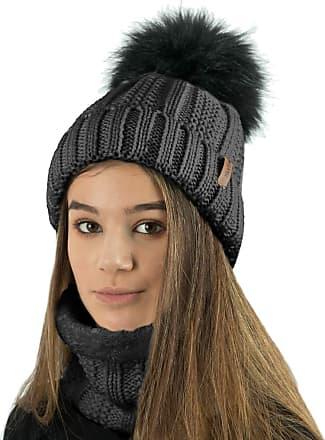 TOSKATOK Ladies Womens Winter Rib Seed Stitch Beanie Bobble Hat with Warm Cosy Fleece Liner & Large Faux Fur Pom Pom