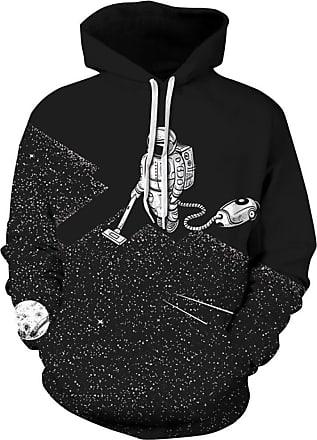 Ocean Plus Mens Digital Print Long Sleeve Hoody Hoodie Fun Halloween Cosplay Sweatshirt Hooded Sweat Unique Galaxy Pullover (XXL/3XL (Chest: 126-146CM), Vacuum A