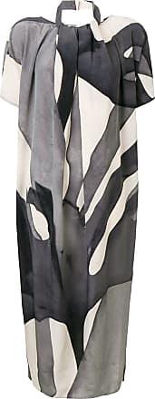 Max Mara Vestido midi com estampa abstrata - Cinza