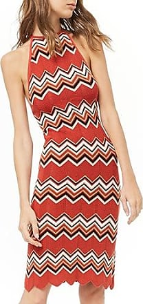 Forever 21 Forever 21 Chevron Halter Dress Rust/black