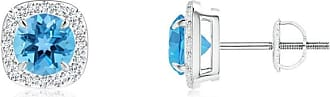 Angara Valentine Day Sale - Claw-Set Swiss Blue Topaz and Diamond Cushion Halo Earrings