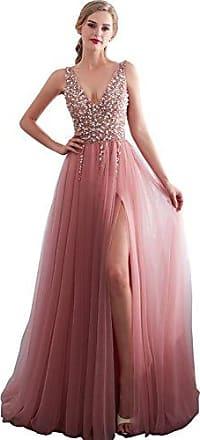 d6d7db3cc90ce8 Clearbridal Damen V-Ausschnitt Abendkleid Ballkleid Partykleid Lang  Maxikleid Glitzer Elegant mit Beineschlitz SQS30651 Gr