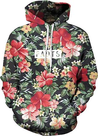 Ocean Plus Mens Digital Print Long Sleeve Hoody Hoodie Fun Halloween Cosplay Sweatshirt Hooded Sweat Unique Galaxy Pullover (L/XL (Chest: 114-134CM), Flower Lett