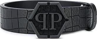 Philipp Plein crocodile embossed belt - Black