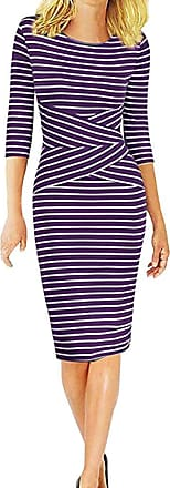 NPRADLA VEMOW Womens Long Stripe Dress Three Quarter Sleeve Ladies Work Wear Business Pencil Dress(Purple,2XL)