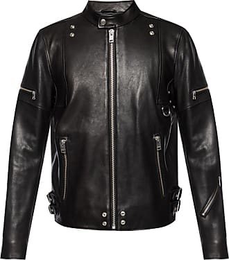 Diesel Leather Jacket With Standing Collar Mens Black