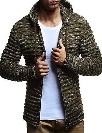 LEIF NELSON Men Cardigan Jacket Hood LN-20724 Khaki XXX-Large