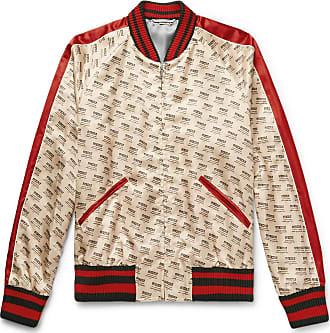 9facf38ea9b Gucci Logo-print Satin Bomber Jacket - Cream