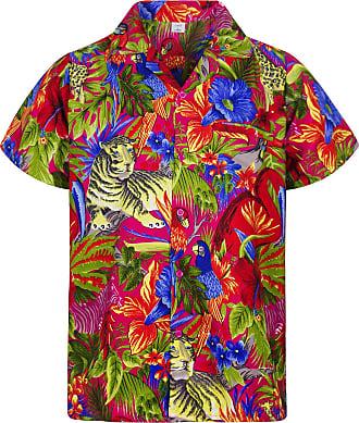 V.H.O. Funky Hawaiian Shirt, Shortsleeve, Jungle, Pink, XXL