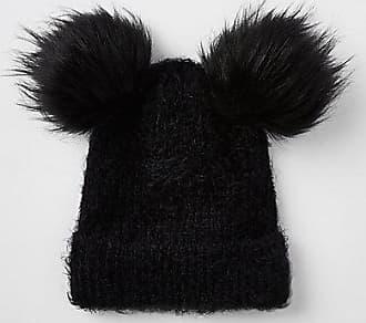 a76831850fc River Island Womens Black double pom pom beanie hat