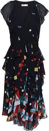 Joie Joie Woman Kierstan Ruffled Printed Silk-chiffon Dress Midnight Blue Size 00