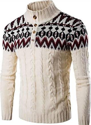 Jeansian Mens Snowflake X-Mas Cardigan Long Sleeve Button Down Knit Sweater Winterwear Jumper 88G5 Beige M