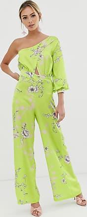Liquorish Tuta jumpsuit monospalla con gonna pantalone verde lime a fiori-Giallo