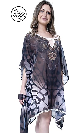 b59683de7 101 Resort Wear Vestido Kaftan Meia Manga 101 Resort Wear Plus Decote V  Animal Print