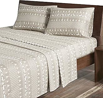 Woolrich Flannel California King Bed Sheets, Casual Lodge/Cabin Bed Sheet, Tan Winter Frost Bed Sheet Set 4-Piece Include Flat Sheet, Fitted Sheet & 2 Pillowcases