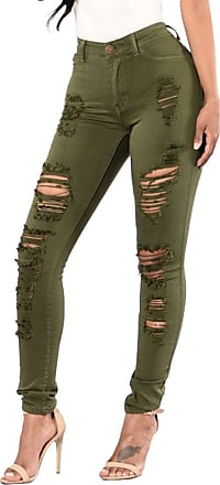 ZongSen Women Ladies Jeans Pants Washed Denim Skinny Jeans Ripped Trousers Long Pants 3 Colours for Choice Army Green M