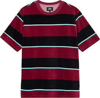 Stüssy Velour stripe crew t-shirt WINE XL