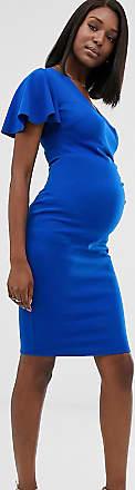 Blume Maternity Jersey midi-jurk met overslag en kapmouwtjes in kobaltblauw