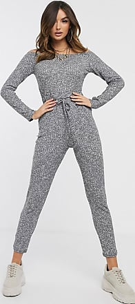 I Saw It First bardot knitted jumpsuit-Grey