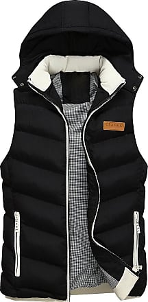 Isshe Mens Hooded Padded Gilet Jacket Quilted Puffer Vest Sleeveless Puffa Jackets Slim Fit Bodywarmer Gilets with Removable Hood Body Warmer Bubble Slim Fi