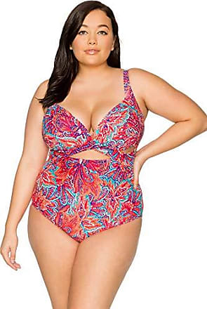 Sunsets Womens Sasha Plus Size Crossover One Piece Swimsuit with Power Mesh, Samba, 16