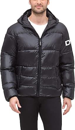 DKNY Mens Water Resistant Ultra Loft Hooded Logo Puffer Jacket Down Alternative Coat, Black, XXL