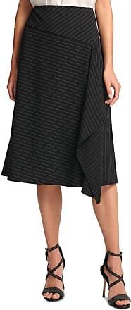 DKNY Womens Black Pinstripe Below The Knee Wear to Work Skirt Size: 10
