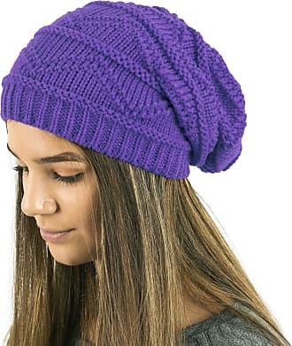TOSKATOK Ladies Knit Slouch Winter Hat/Beanie - Purple