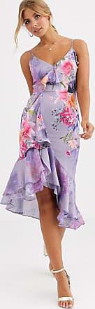 Lipsy Kleid mit ausgestelltem Rock und lila Blumenmuster in Midi-Länge-Violett