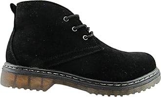Truffle Buk24 Black Faux Suede Ankle Boots Ladies Booties Lace Up[Ladies UK 3 / EU 36]