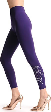 Liss Kiss Purple With Silver Waves Studded Winter Fleece - Purple Embellished Designer Opaque Leggings