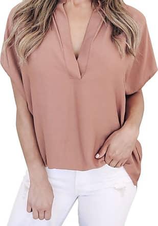 FNKDOR Summer Women Ladies Mothers Day Suprise Elegant Chiffon Short Sleeve Casual Shirt Tops Blouse T-Shirt (UK-20/CN-XL, Pink)