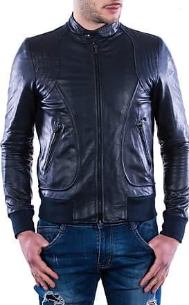 Leather Trend Italy Bomber Maverick - Giacca Uomo in Vera Pelle colore Blu Oil Vintage